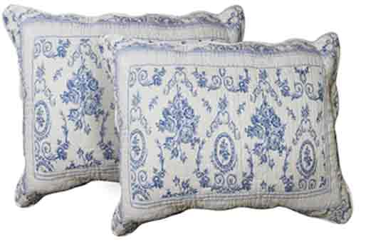 "Blue Wisteria Lattice Pillow Shams  Set(2 Pieces) 27""W x 21""L"