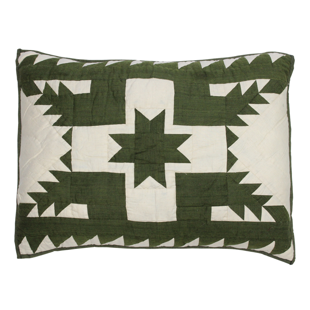 "Green Feathered Star Pillow Sham 27""W x 21""L"