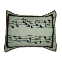 "Music Pillow Sham 27""W x 21""L"