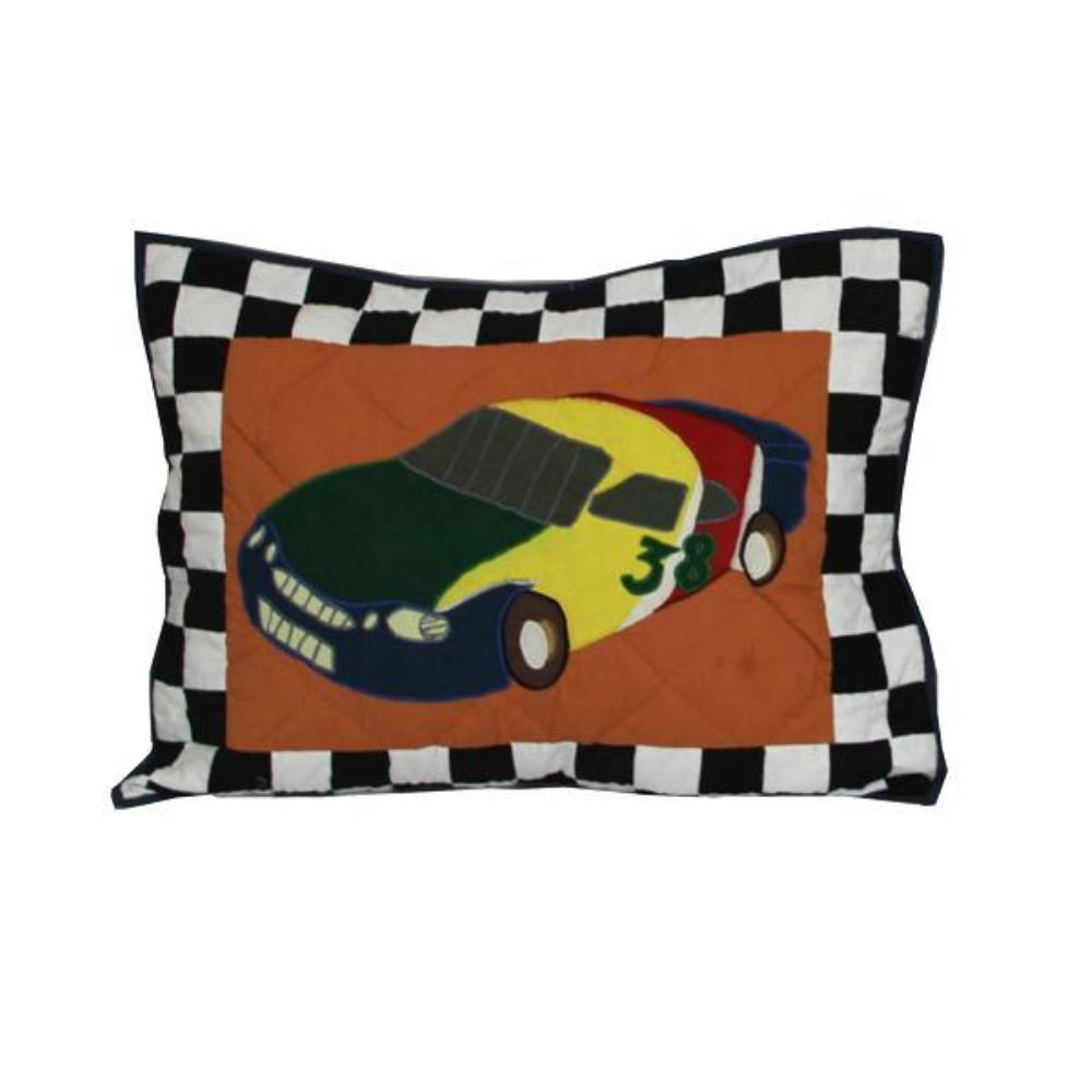 "Racecar Pillow Sham 27""W x 21""L"