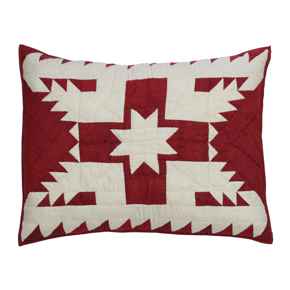 "Red Feathered Star Pillow Sham 27""W x 21""L"