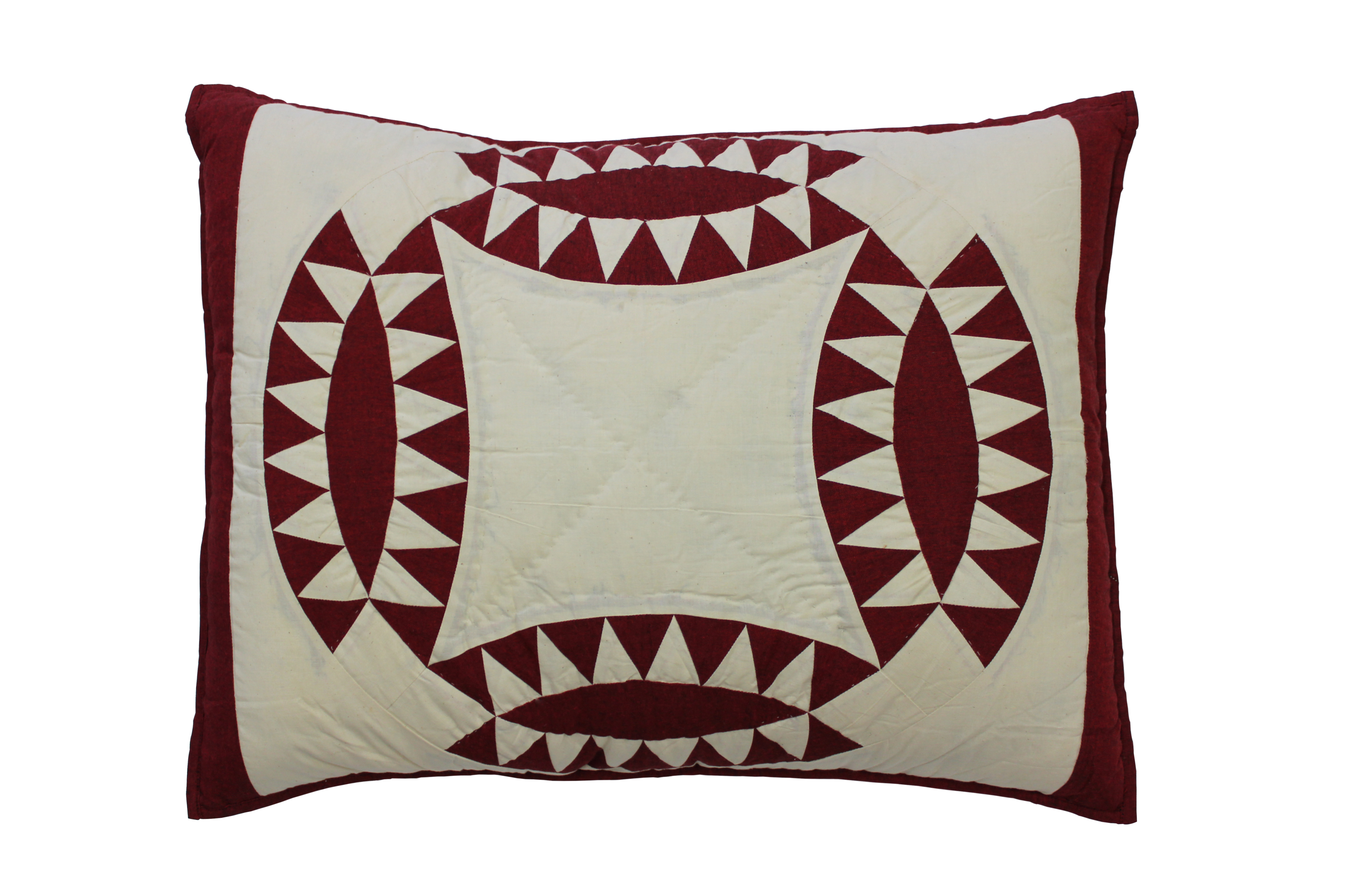 """Red and White Wedding Ring Pillow Sham 27""""W x 21""""L"""