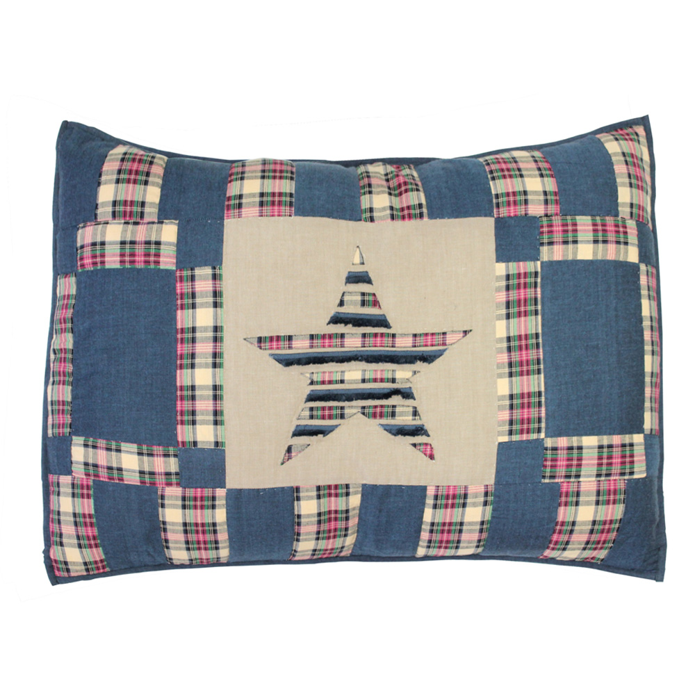 "Tartan Star Pillow Sham 27""W x 21""L"