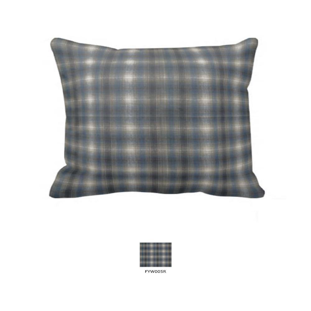 "Blue Black Grey Plaid Pillow Sham 27""W x 21""L"