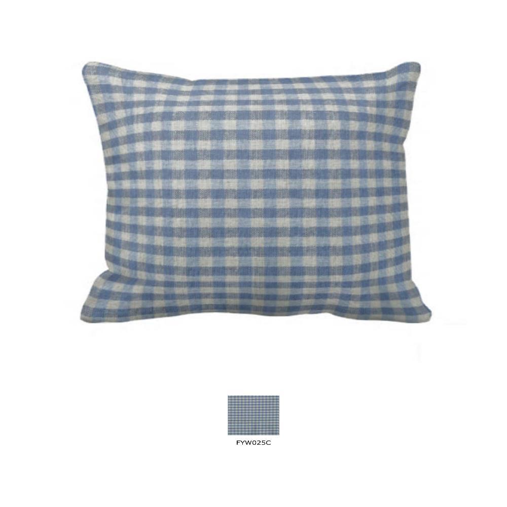 "Blue Ecru Gingam Pillow Sham 27""W x 21""L"