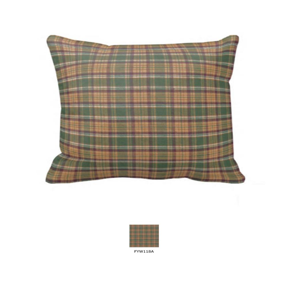 """Dark Green Plaid Pillow Sham 27""""W x 21""""L"""