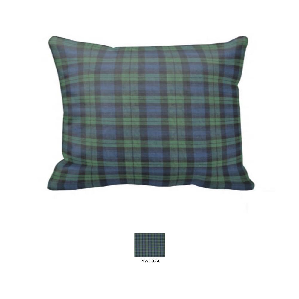 """Dark Blue & Green Black Watch Plaid, Fabric Pillow Sham 27""""W x 21""""L"""