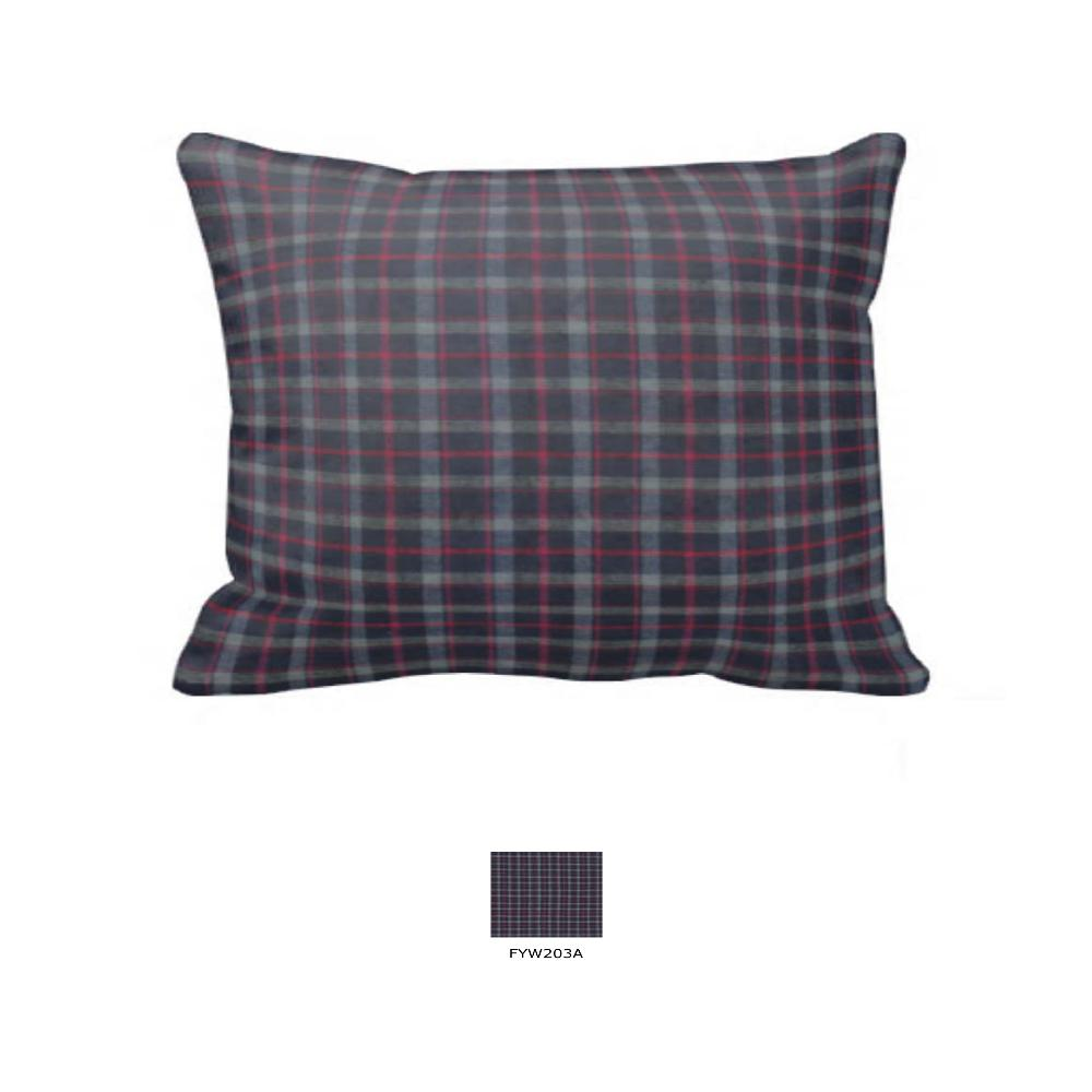 "Grey and Navy Blue Plaid Pillow Sham 27""W x 21""L"