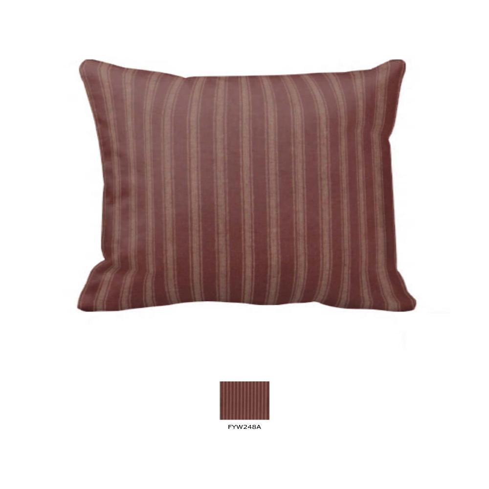 """Tea Dye Stripes with Red Pillow Sham 27""""W x 21""""L"""
