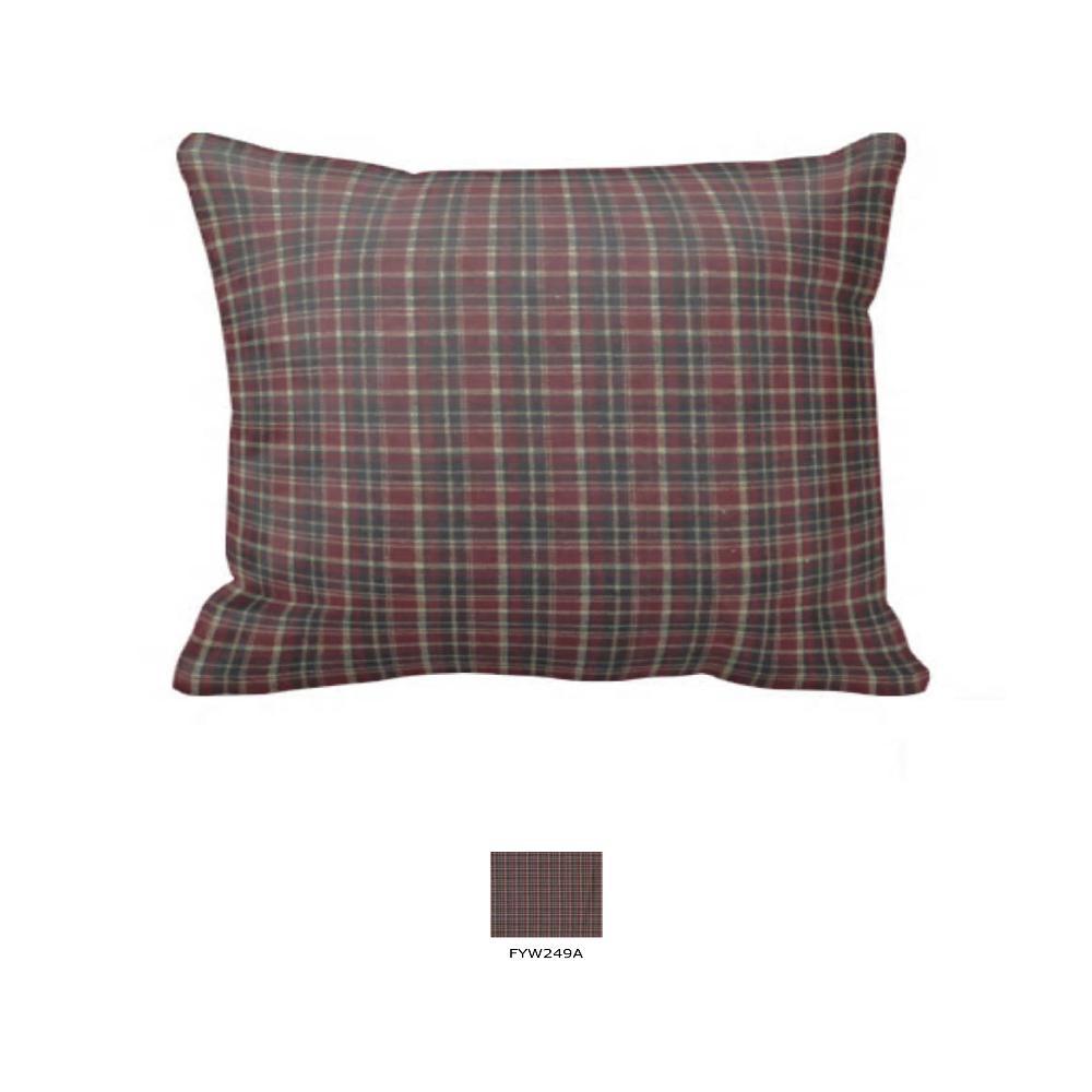"""Maroon and Black Plaid Pillow Sham 27""""W x 21""""L"""