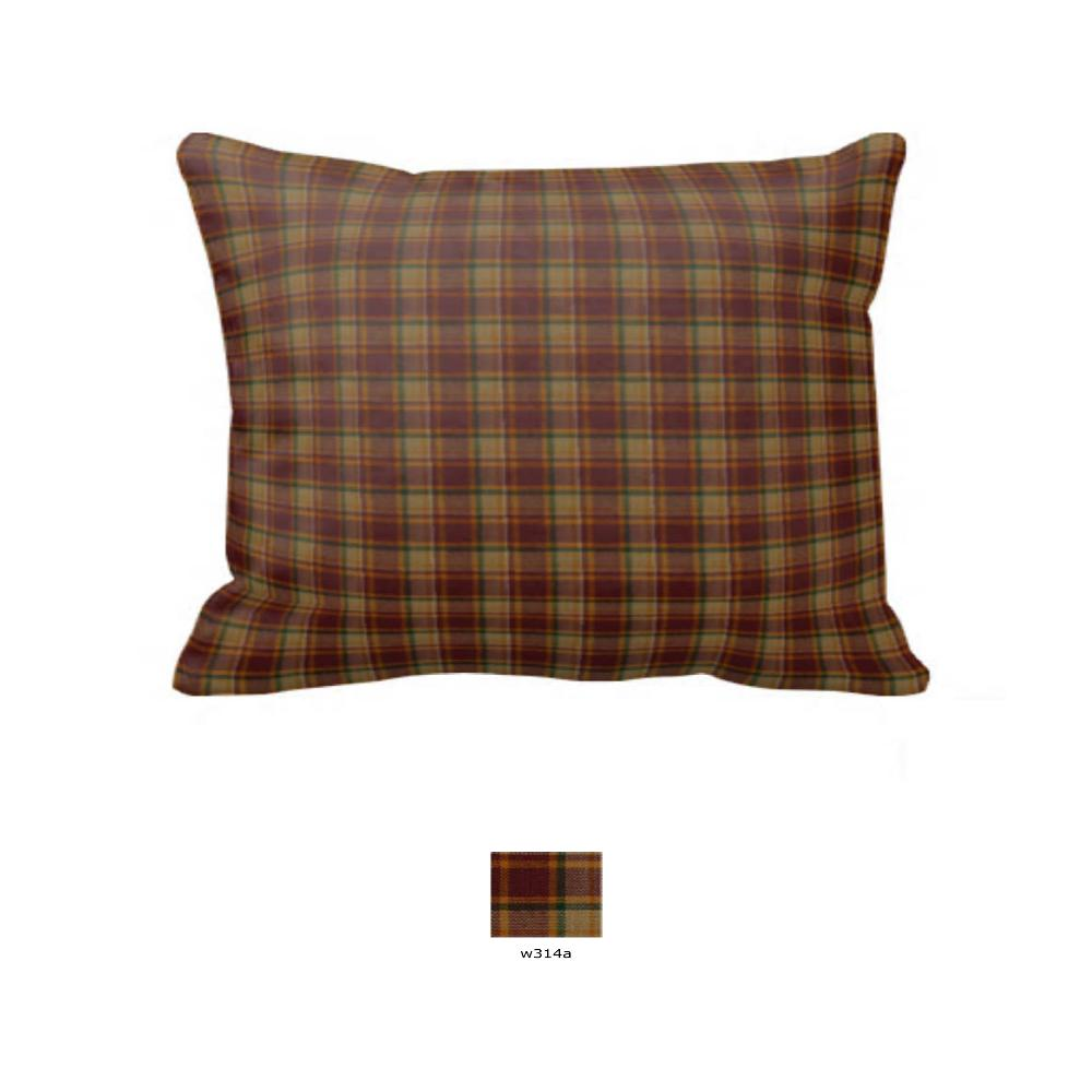 "Rustic Red and Tan Check Plaid Pillow Sham 27""W x 21""L"