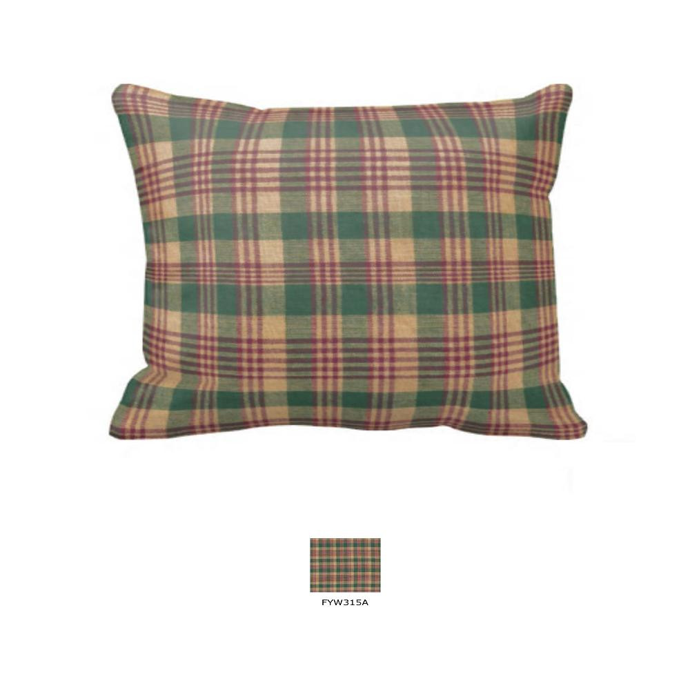 "Green and Warm Brown Plaid Pillow Sham 27""W x 21""L"