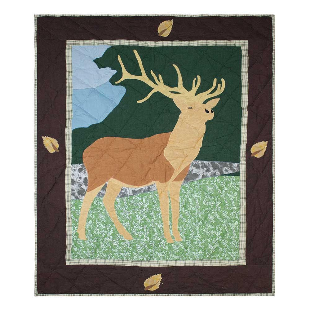 "Brown Elk Crib Quilt 36""W x 46""L"