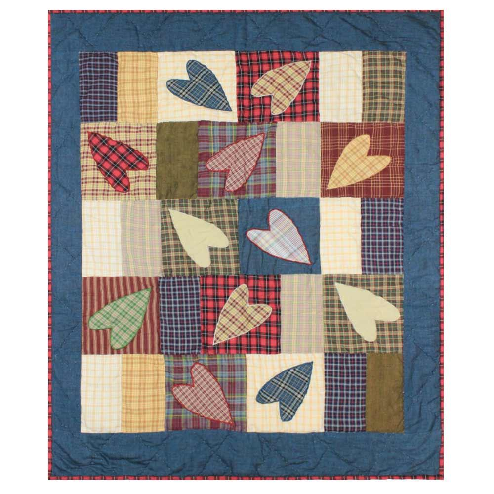"Country Hearts Crib Quilt 36""W x 46""L"