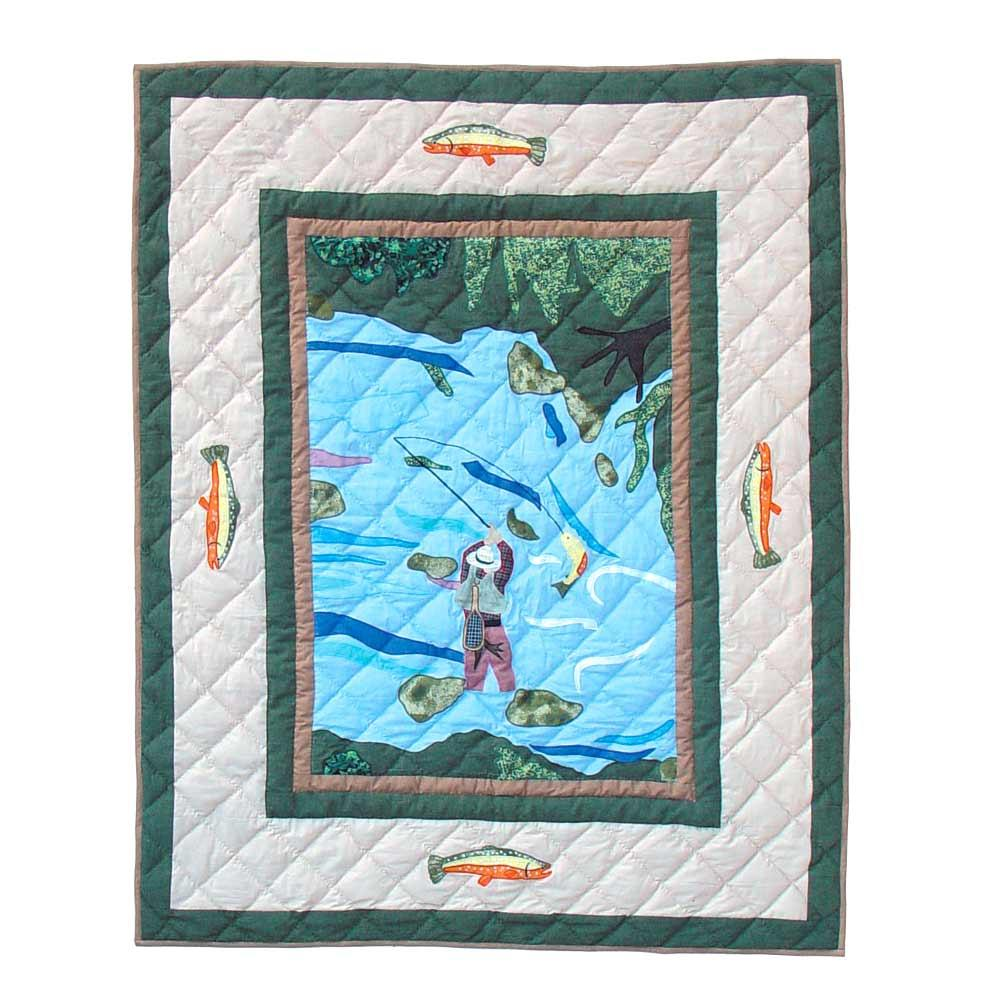 "Fly Fishing Crib Quilt 36""W x 46""L"