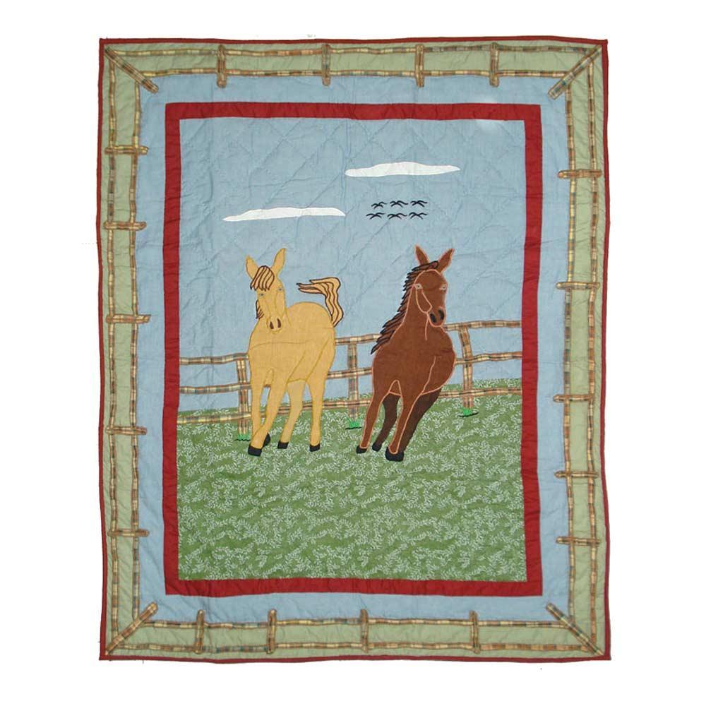 """Horse Crib Quilt 36""""W x 46""""L"""