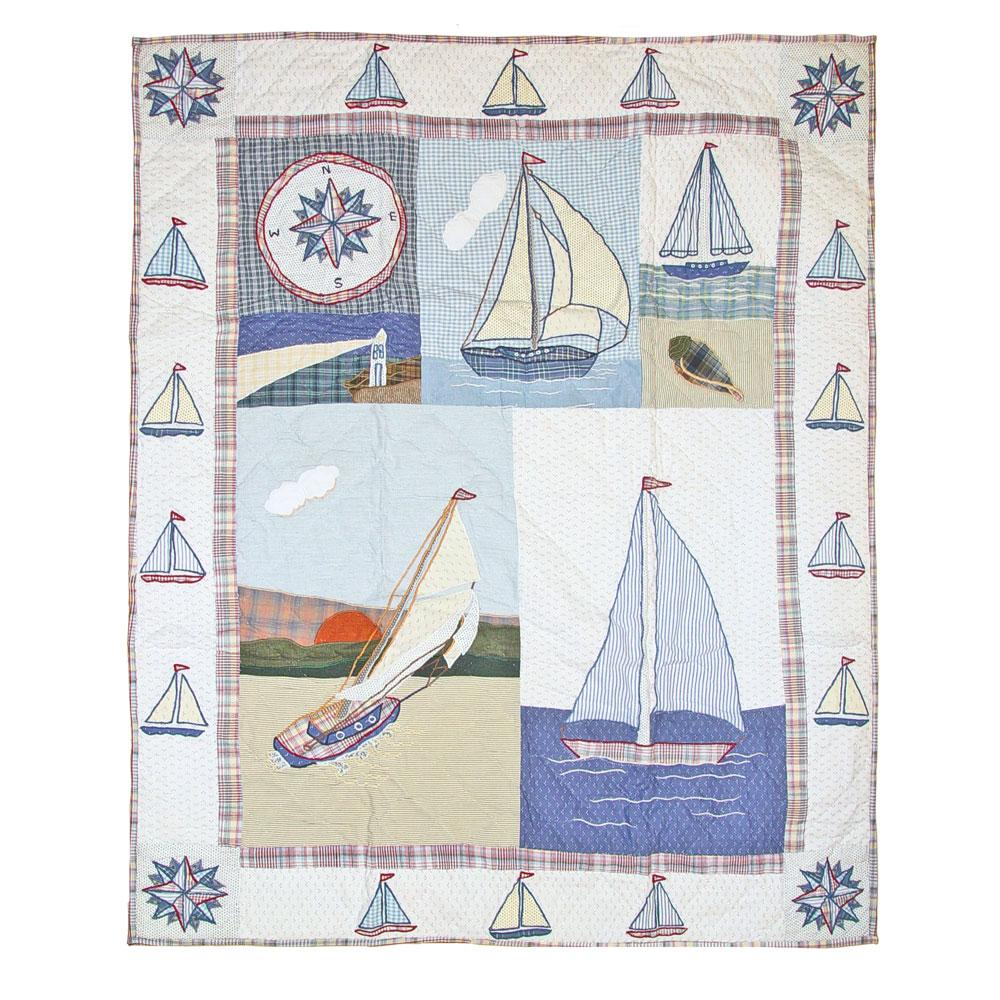 "Nautical Drift Crib Quilt 36""W x 46""L"