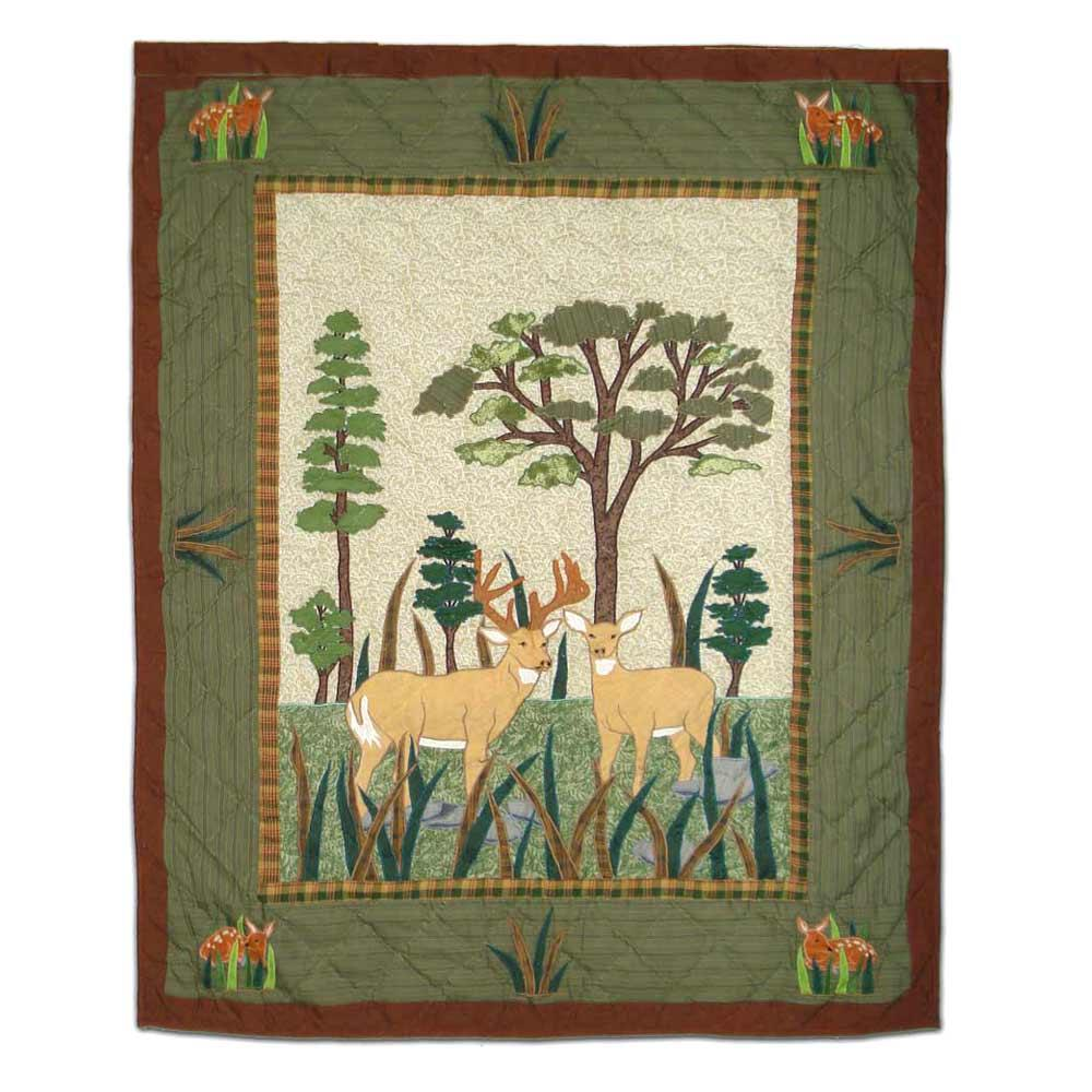 "Whitetail Deer Grove Crib Quilt 36""W x 46""L"