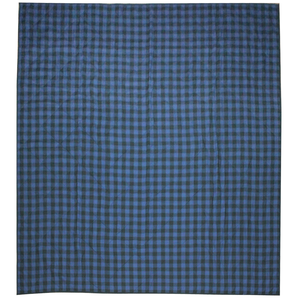 """Blue and Black Twill Buffalo Check King Quilt 105""""W x 95""""L"""