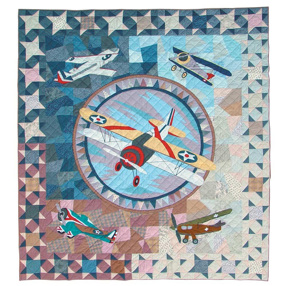 "Airplane Sortie King Quilt 105""W x 95""L"