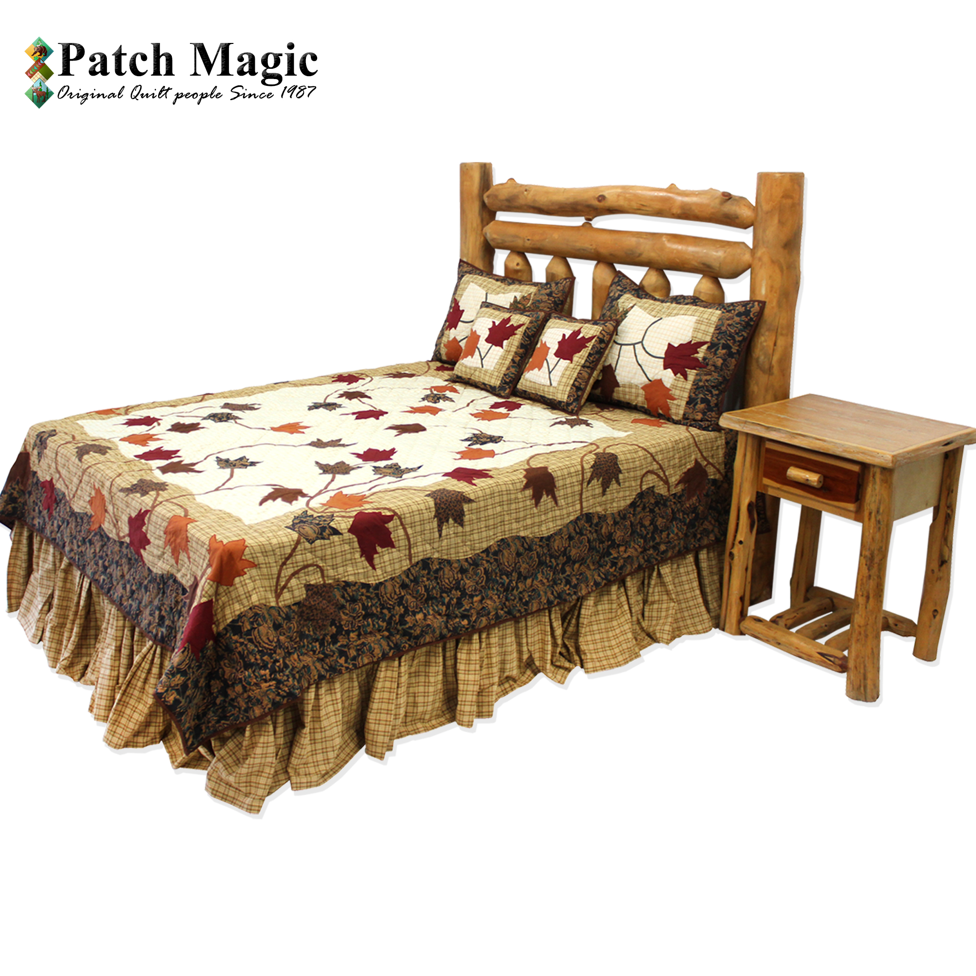 "Autumn Leaves King Quilt 105""W x 95""L"