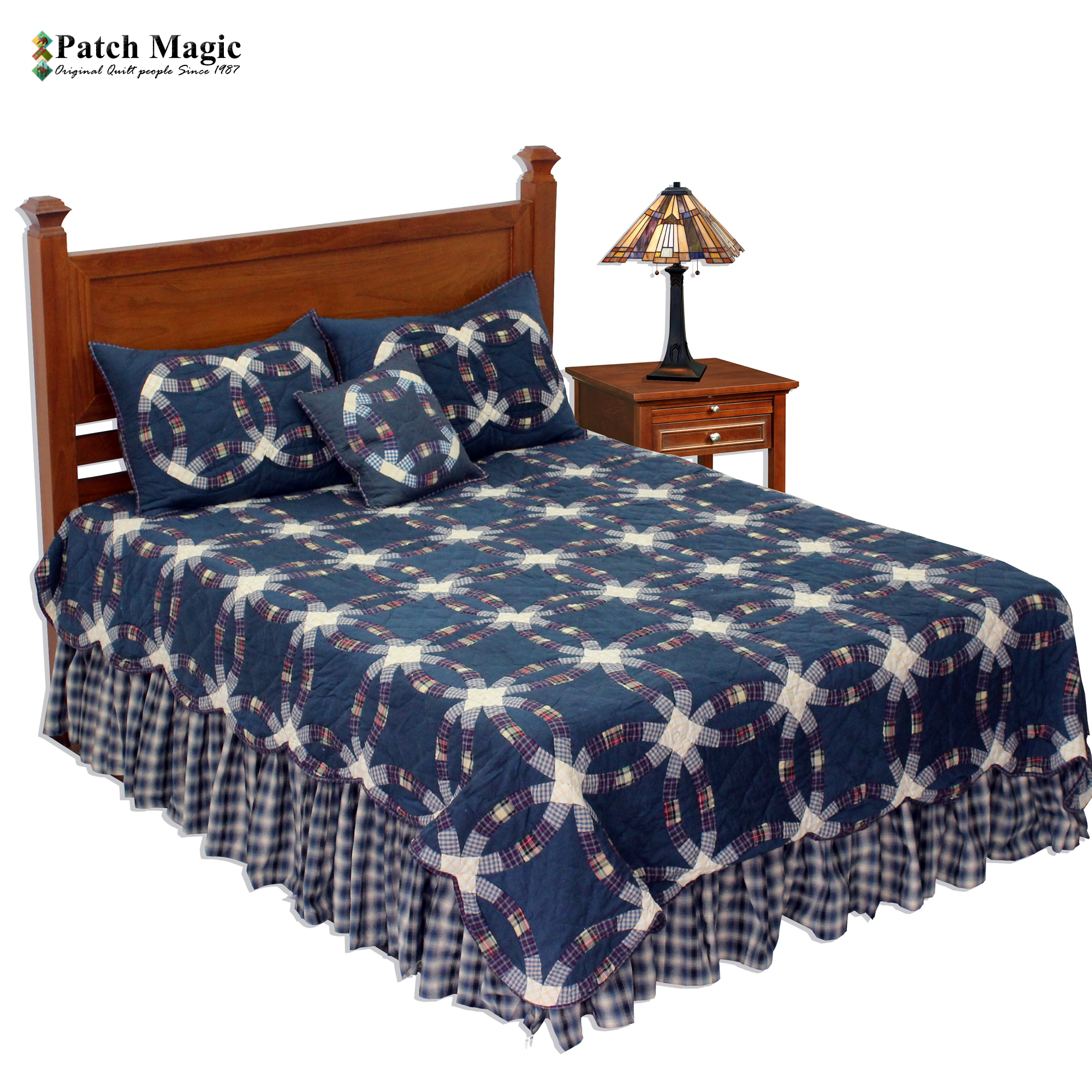 """Blue Double Wedding Ring King Quilt 105""""W x 95""""L"""