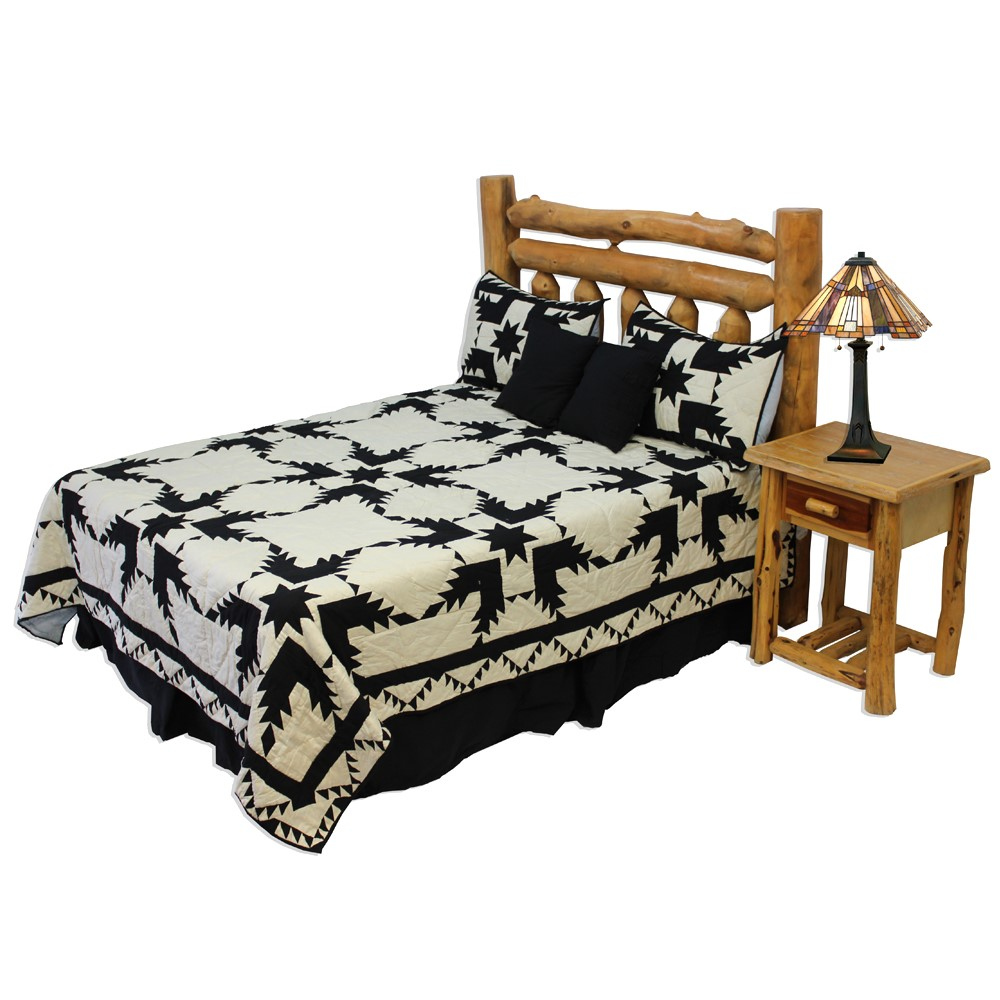 """Coal Feathered Star King Quilt 105""""W x 95""""L"""