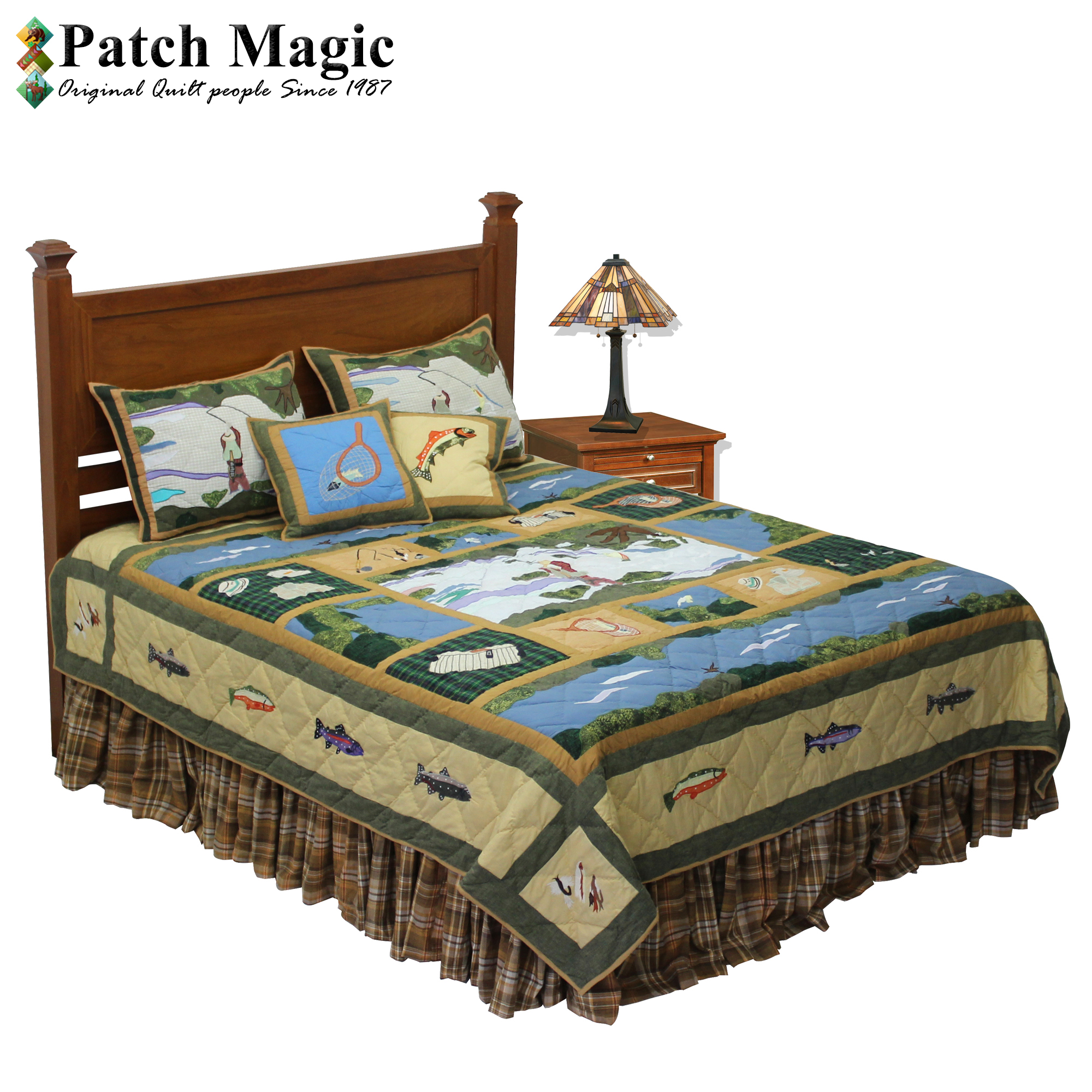 """Fly Fishing King Quilt 105""""W x 95""""L"""