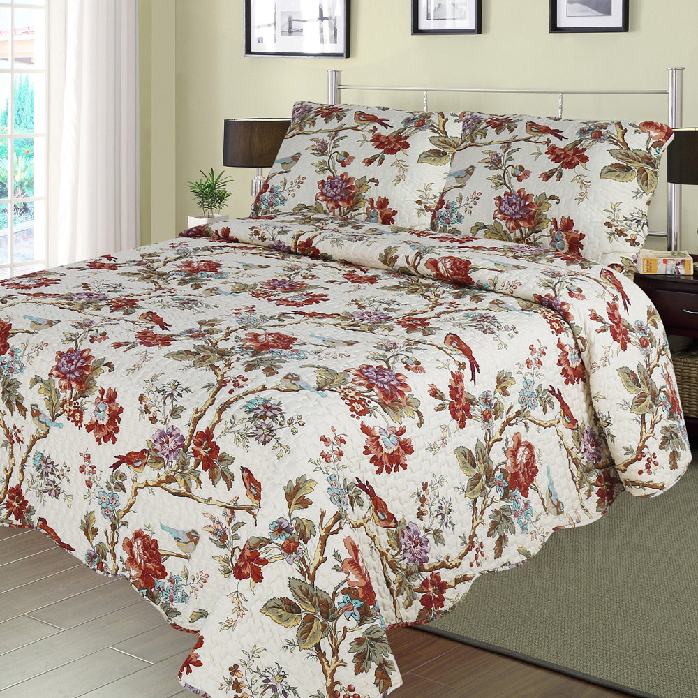 Finch Orchard king quilt-108*92 with 2 ps