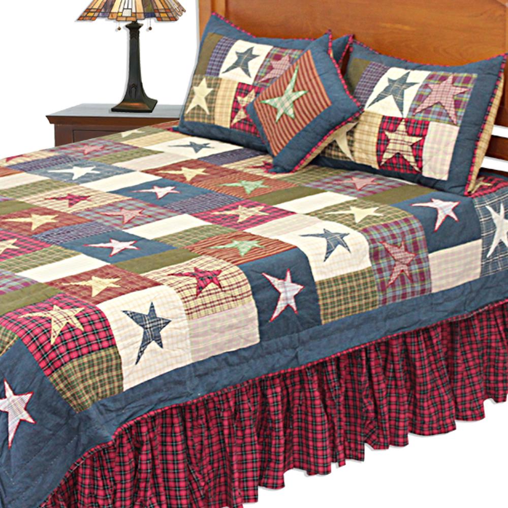 "Homespun Stars King Quilt 105""W x 95""L"