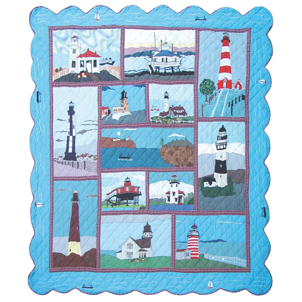 "Lighthouse Gallery King Quilt 105""W x 95""L"