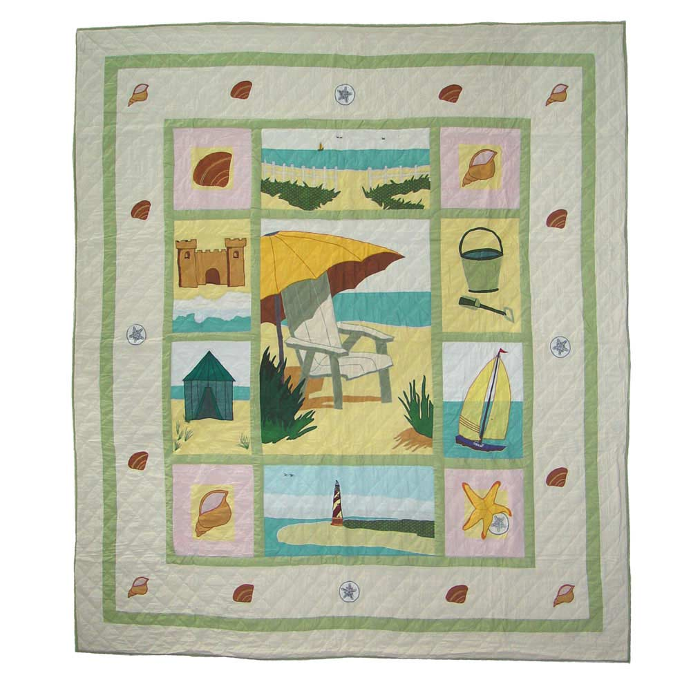 "Ocean View King Quilt 105""W x 95""L"