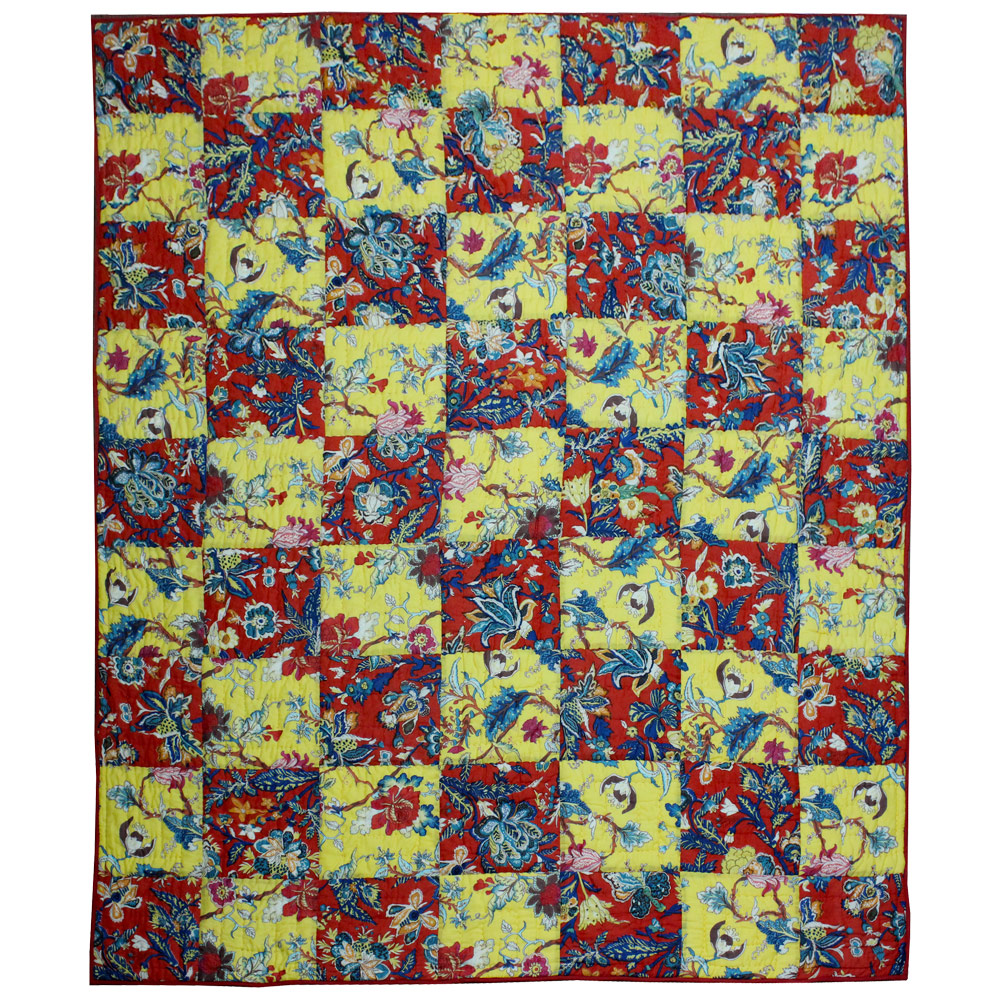 "Red and Yellow Swathe Squares King Quilt 105""W x 95""L"