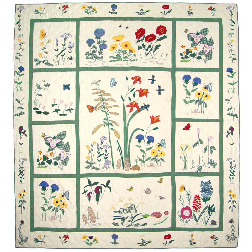 "Wildflower King Quilt 105""W x 95""L"