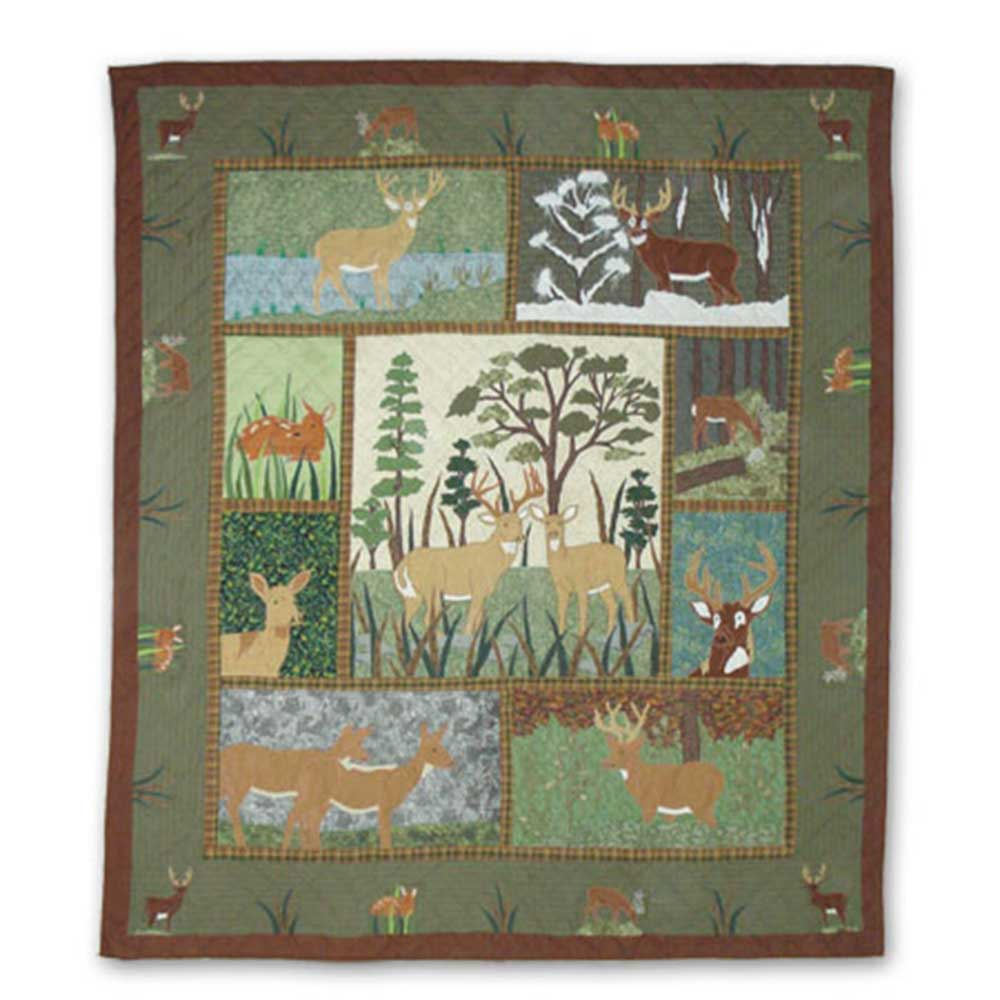 """Whitetail Deer Grove King Quilt 105""""W x 95""""L"""