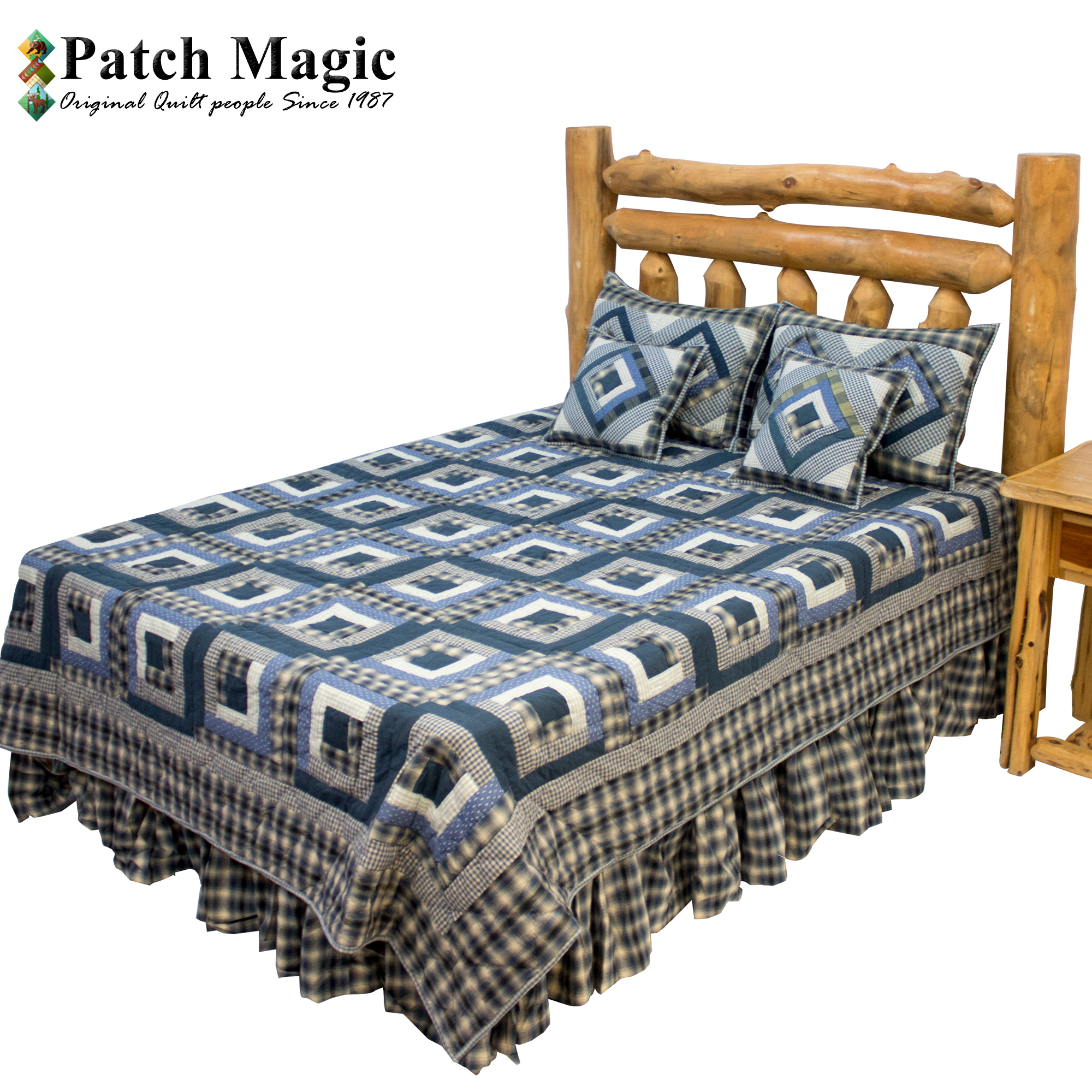 "Blue Log Cabin Luxury King Quilt 120""W x 106""L"