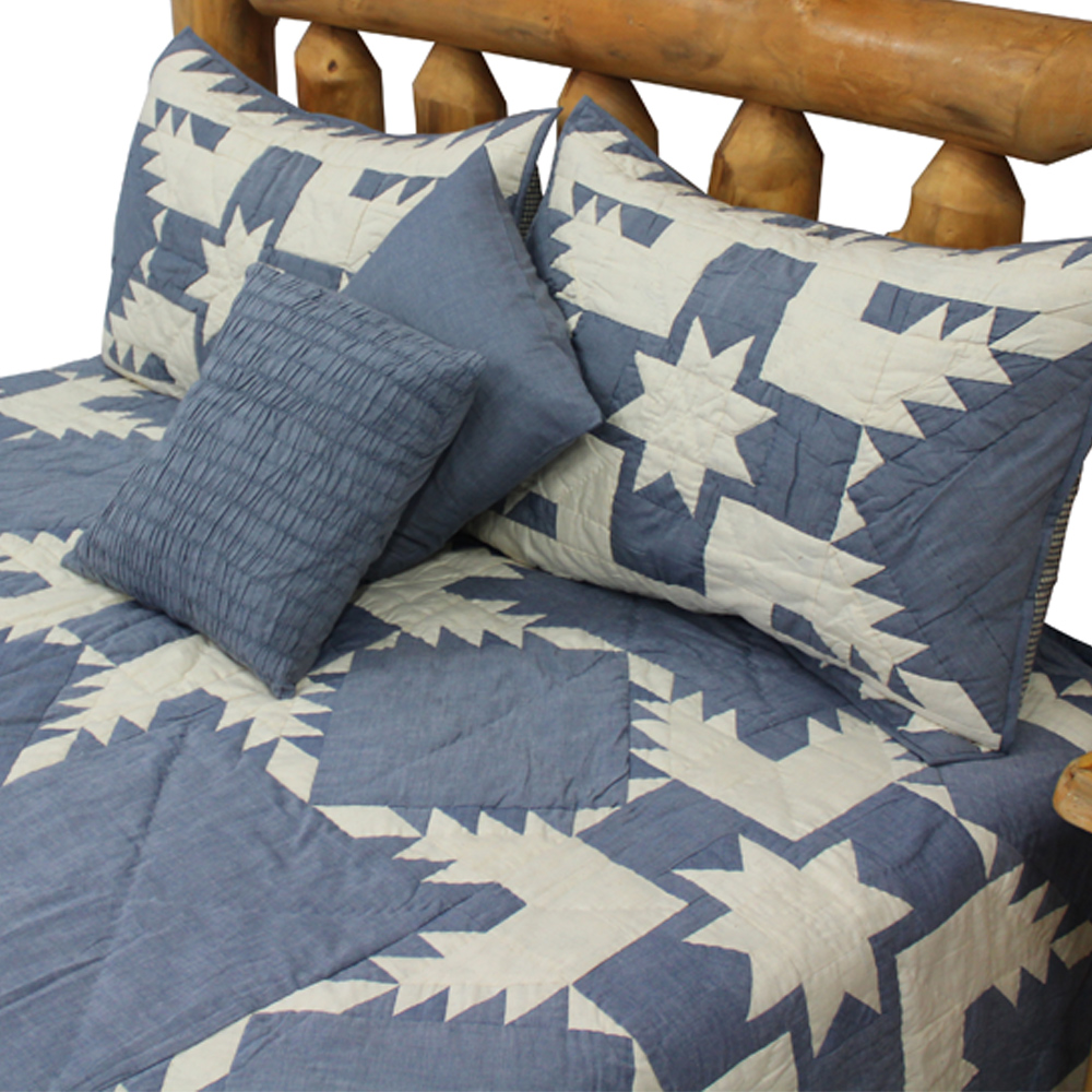 "Blue Feathered Star Luxury King Quilt 120""W x 106""L"