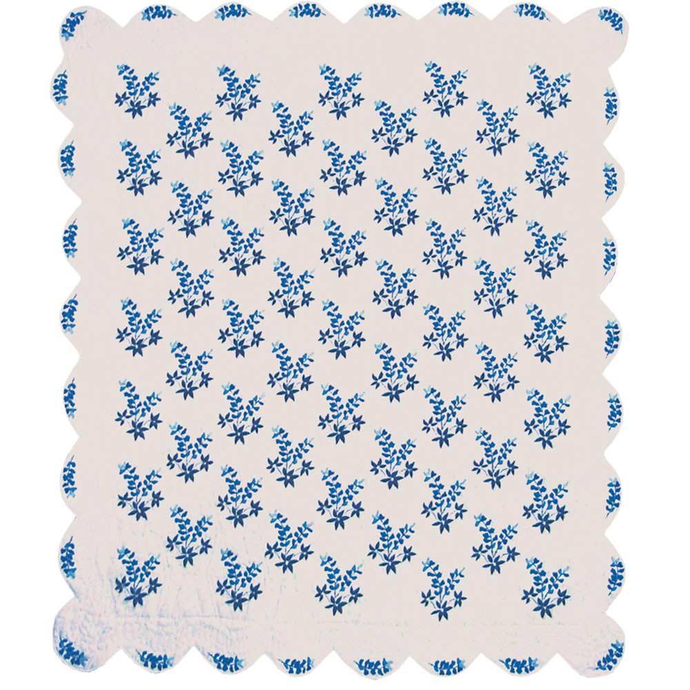 """Blue Bonnets Luxury King Quilt 120""""W x 106""""L"""