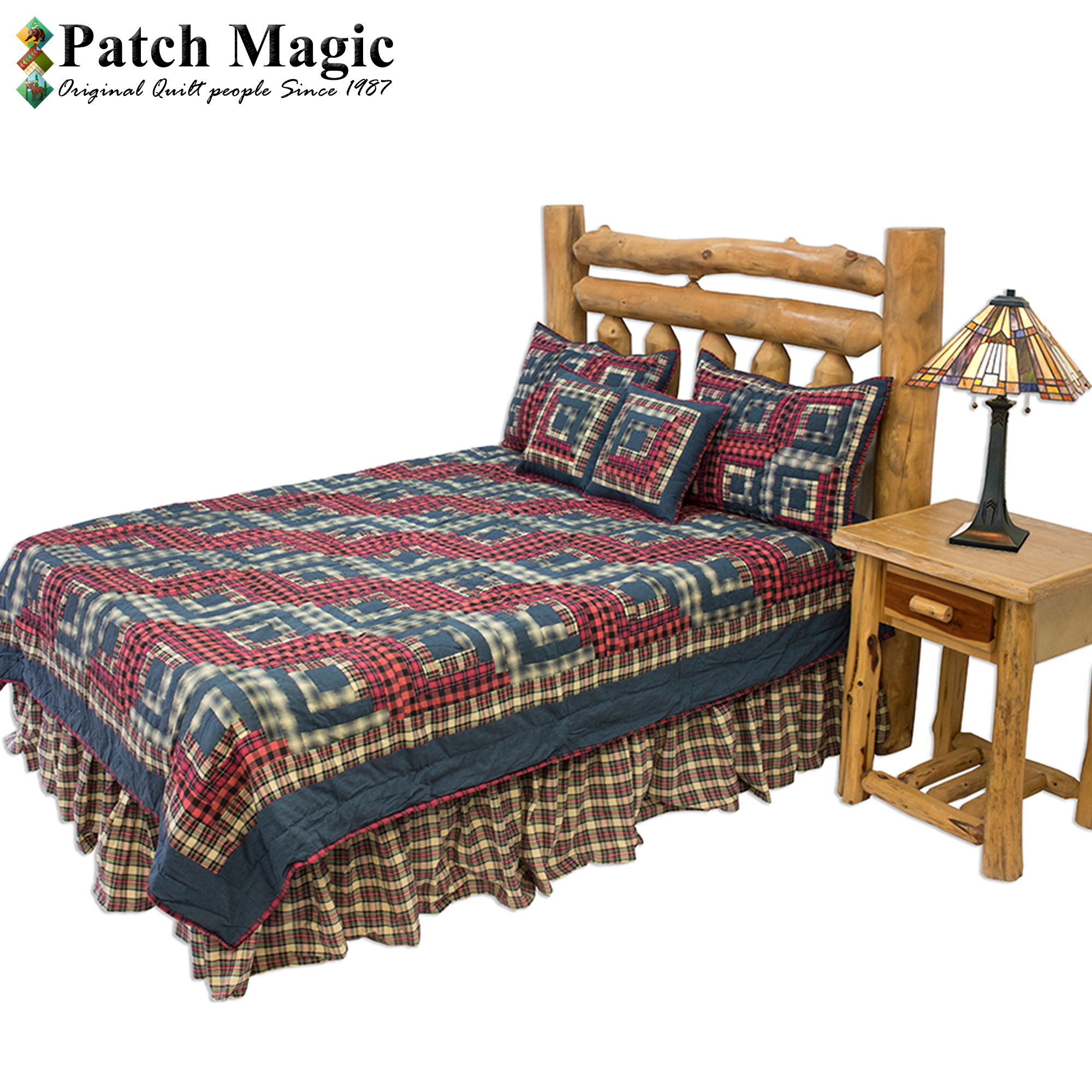 "Red Log Cabin Luxury King Quilt 120""W x 106""L"
