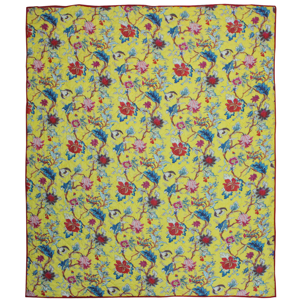 """Yellow French Swathe Luxury King Quilt 120""""W x 106""""L"""