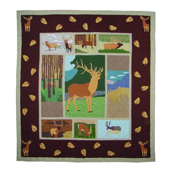 """Brown Elk Queen Quilt 85""""W x 95""""L"""