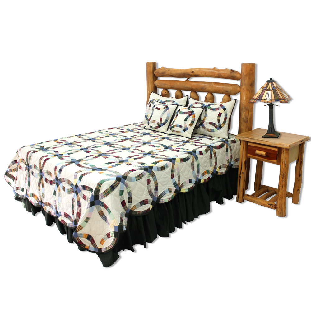 """Country Wedding Ring Queen Quilt 85""""W x 95""""L"""
