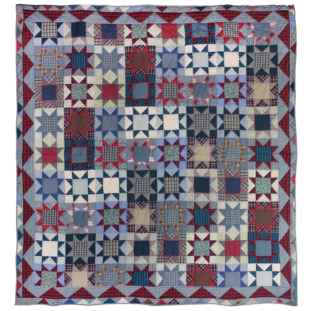 "Denim Burst Queen Quilt 85""W x 95""L"