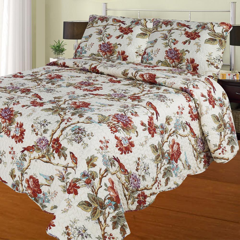 Finch Orchard queen quilt-92*88 with 2 Standard Pillow Shams