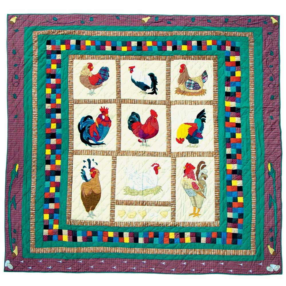 """Rooster Queen Quilt 85""""W x 95""""L"""