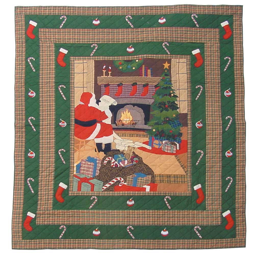 "Santa by the Fireside Queen Quilt 85""W x 95""L"