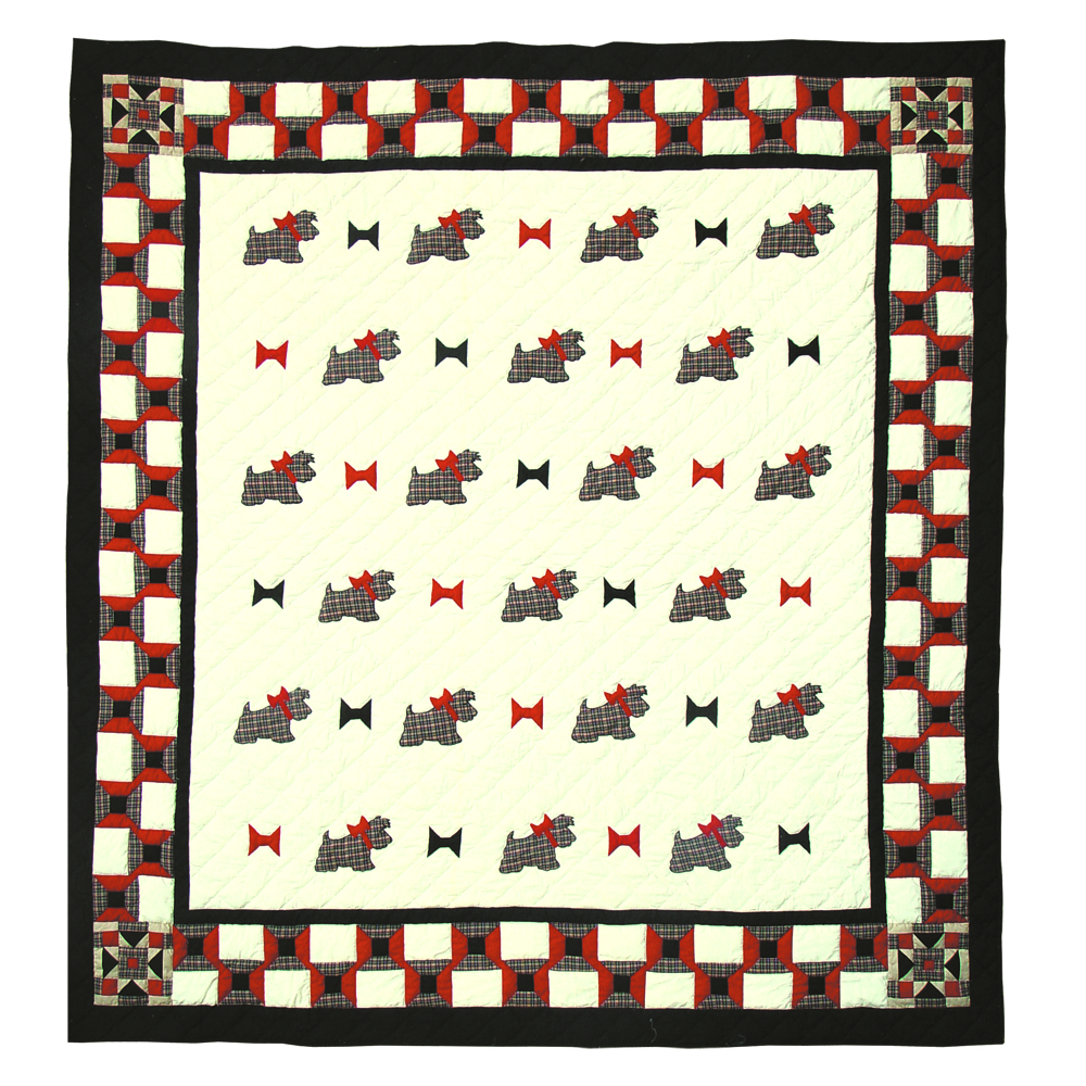 "Scottie Queen Quilt 85""W x 95""L"