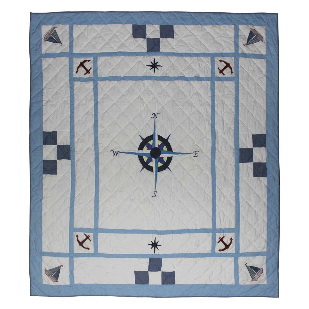 "Star of the Sea Queen Quilt 85""W x 95""L"