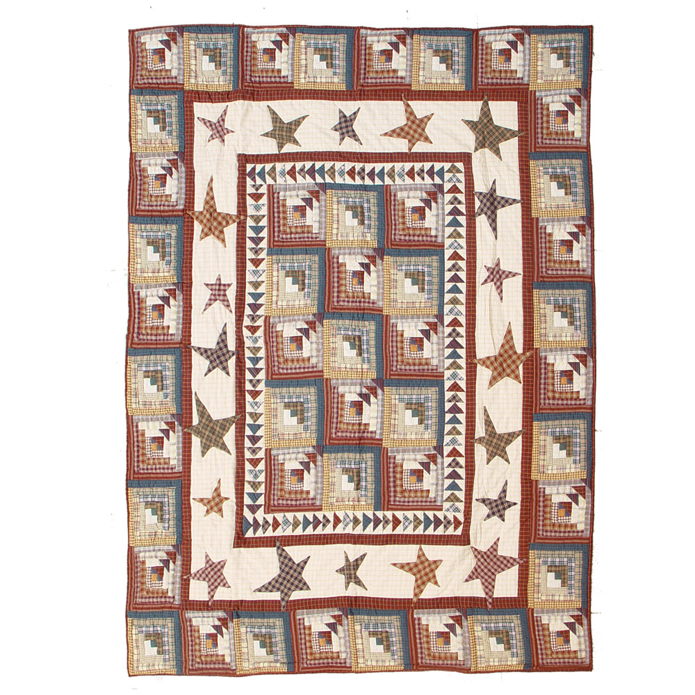 """Woodland Star and Geese Queen Quilt 85""""W x 95""""L"""