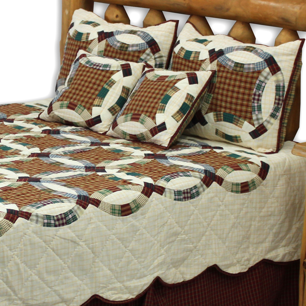 "Woodland Ring Queen Quilt 85""W x 95""L"